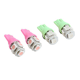 T10 5 5050 SMD LED Car Signal Lights (2-Pack, Pink, Green Availble)