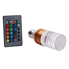 E27 5W RGB Light Golden Shell Remote Controlled LED Crystal Candle Bulb (85-265V)