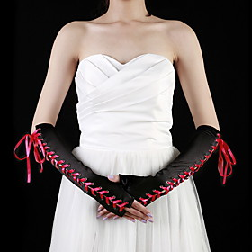 Satin Elbow Length Half Finger Party / Evening Gloves (More Colors)