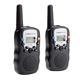 Portable 8-Channel Travel Walkie Talkie (5KM range, 2-Pack, Black)