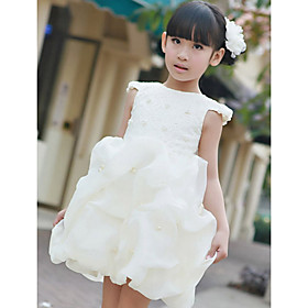 Ball Gown Bateau Beading Satin Knee-length Flower Girl Dress
