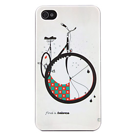 Bicycle Pattern Hard Case for iPhone 4 and 4S (White)