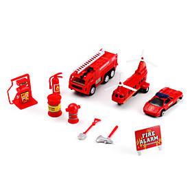 Fire Fighting Toys Pack with Helicopter, Truck, Car (Red)