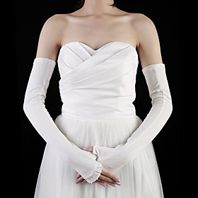 Cotton Half Finger Opera Length Bridal Gloves (More Colors)