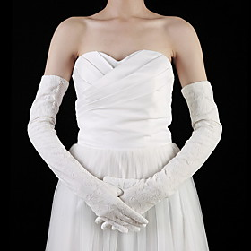Cotton / Lace Opera Length Fingertips Bridal Gloves (More Colors)