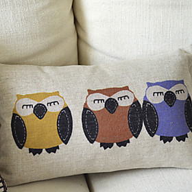 Cartoon Owls Cotton Decorative Pillow Cover