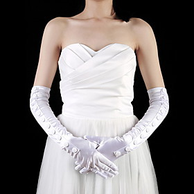 Satin Opera Length Fingertips Bridal Gloves (More Colors)