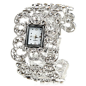 Women's Vintage Alloy Style Analog Quartz Bracelet Watch (Silver)