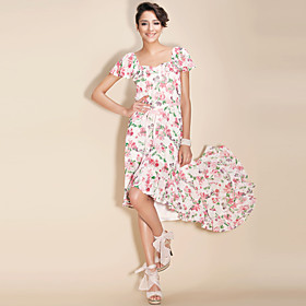 TS Asymmetrical Flower Printed Ankle-length Dress