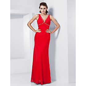 Empire Sheath/Column V-neck Floor-length Chiffon Evening Dress