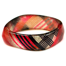 Ladies' Resin Round Bangles Classic Bracelet With Red And Black Veins