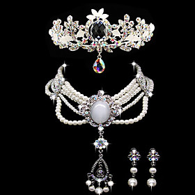 Luxurious Alloy Elegant Rhinestone Wedding Jewelry Set Including Tiara,Necklace,Earrings