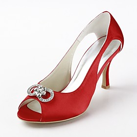 Satin Stiletto Heel Peep Toe Pumps / Sandals With Rhinestone Wedding Shoes (More Colors)