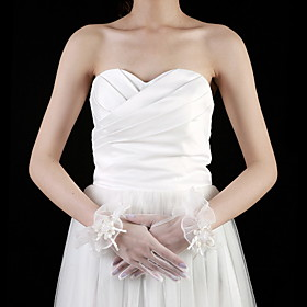 Tulle Wrist Length Fingertips Bridal Gloves