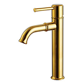 Ti-PVD Finish Solid Brass Bathroom Sink Faucet (Tall)