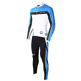 LYCIAN-Men's 100% Polyester Long Sleeve Cycling Suits(Blue)