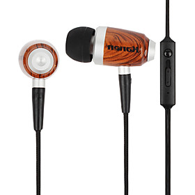 Kanen Wooden In Ear Earphone with Volume Control and Microphone for iPhone, iPad  Other Cellphone