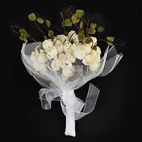 Gorgeous Satin / Cotton Round Shape Wedding Bouquet