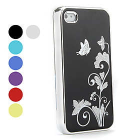 Butterfly Pattern Aluminium Hard Case for iPhone 4 and 4S (Assorted Colors)