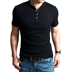 Mens Fashion Cozy Round Collar Tight T Shirt