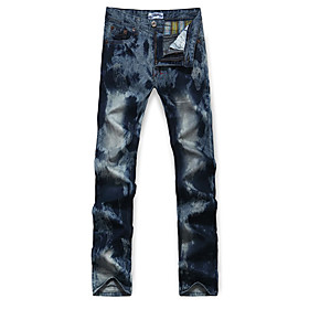 Trendy Men's Dyeing Leisure Straight Jeans