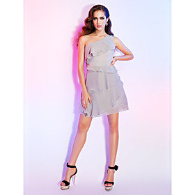 A-line One Shoulder Short/ Mini Chiffon Cocktail Dress bachelorette party dress