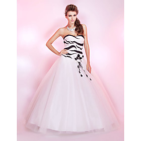 Ball Gown Sweetheart Floor-length Tulle Sequined Prom Dress