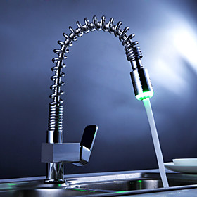 Brass Single Handle Pull Down Kitchen Faucet with Color Changing LED Light - Spring
