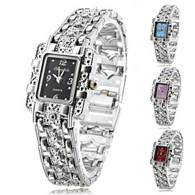 Women's Fashionable Style Alloy Analog Quartz Bracelet Watch (Silver)