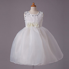 Princess Jewel Knee-length Satin Beading Sleeveless Flower Girl Dress