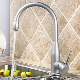 Modern Centerset Kitchen Faucet (Polished Aluminium Finish)