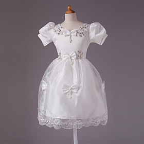 Ball Gown Jewel Knee-length Satin With Beading Short Sleeve Flower Girl Dress
