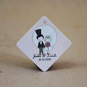 Personalized Rhombus Favor Tag - Cute Lovers (Set of 36)