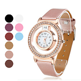 Women's Fashionable PU Leather Analog Quartz Wrist Watch (Assorted Colors)