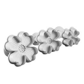 Four-Petal-Flower Cake and Cookie Cutter Mold with Plunger (3 Pieces)