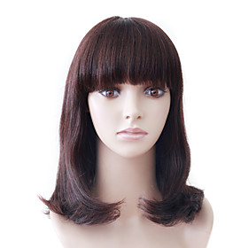 Capless Mono Top Medium Brown Wavy Human Human Hair Wig