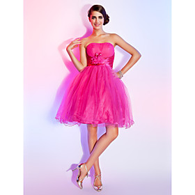 pink tulle cocktail dress