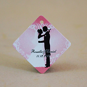Personalized Rhombus Favor Tag - Wedding Romance (Set of 36)