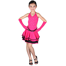 Dancewear Polyester Performance Latin Dance Dress For Kids