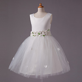 Ball Gown Scoop Knee-length Satin And Tull Sleeveless Flower Girl Dress
