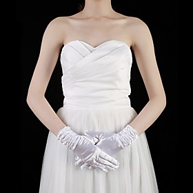 Satin Wrist Length Fingertips Bridal Gloves With Ruffles (More Colors)