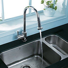 Contemporary Solid Brass Pull Out Kitchen Faucet (Chrome Finish)