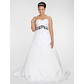 Ball Gown Sweetheart Chapel Train Satin Plus Size Wedding Dress