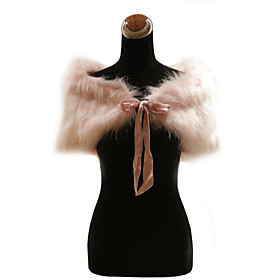 Elegant Faux Fur With Ribbons Wedding / Special Occasion Shawl / Wrap