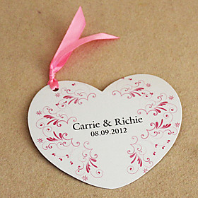 Personalized Lovely Pink Heart Shaped Wedding Invitation - Set Of 50