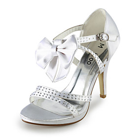Satin Stiletto Heel Pumps / Sandals Wedding / Special Occasion Shoes With Rhinestone