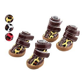 Protective Leopard TPR Style Velcro Boots for Dogs (XS-XL, Assorted Colors)