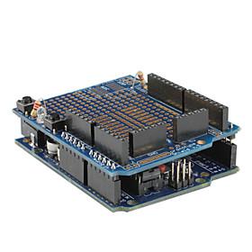 Arduino UNO Board, Prototype Shield, Medium Breadboard, Breadboard Jumper Wires and USB Cable Set