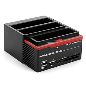 All-in-1 2.5 and 3.5 HDD Docking with 2-Port USB Hub and Card Reader