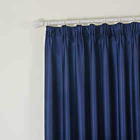 (Two Panels) Solid Ink Blue Classic Room Darkening Curtains